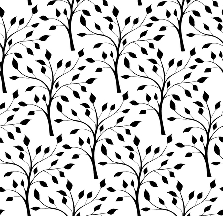 vegetal: Seamless pattern with silhouettes of trees. Vector black and white ornament. Template for wallpapers, textiles.