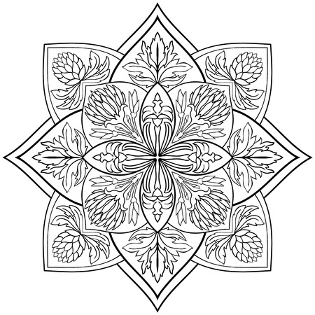 vegetal: Vector floral mandala on a white background.  Oriental ornament. Element for design. Template for any surface. Sketch for book coloring.