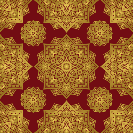Ethnic gold and red ornament of mandalas. Template for carpet, textile, blanket, shawl. Vector oriental seamless pattern. 일러스트