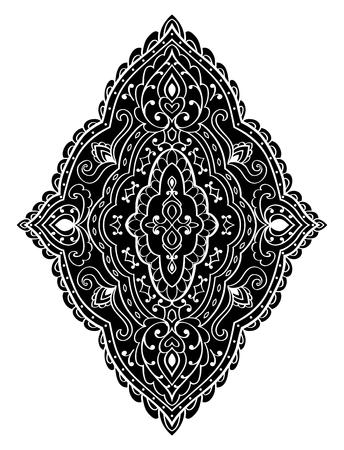 동양 추상 장식입니다. 디자인 양탄자, 직물 및 어떤 표면을위한 템플렛. 흰색 배경에 벡터 검은 패턴.