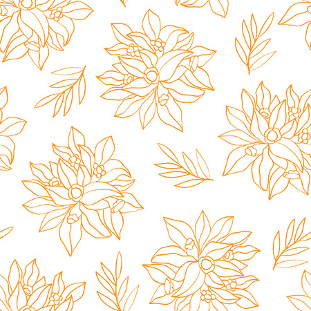vegetal: Seamless background with simple flowers. Vector floral pattern.