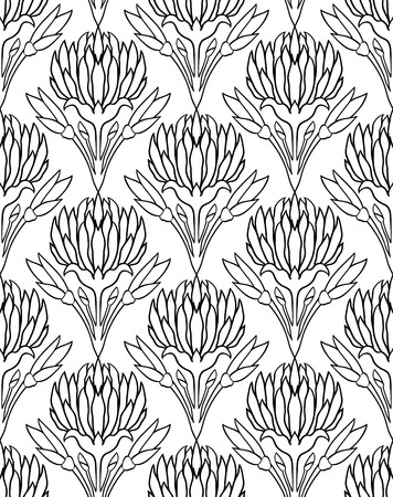 Seamless background with flowers of clover vector black and seamless background with flowers of clover vector black and white pattern stock vector mightylinksfo