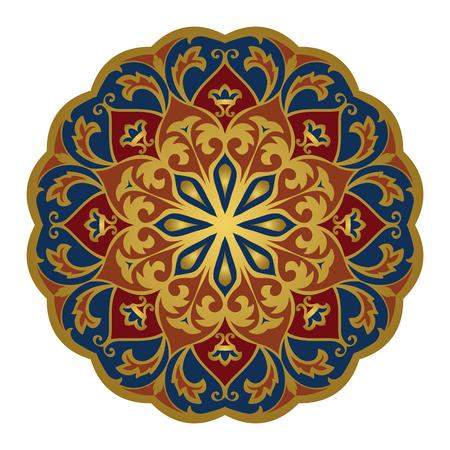 흰색 배경에 동부 mandala입니다. 벡터 우아함 장식입니다. 어떤 표면의 디자인 요소. 카펫에 대 한 양식에 일치시키는 템플릿.