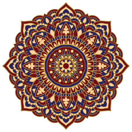 red rug: Eastern mandala on a white background. Vector elegance ornament. Design element for any surface. Stylized template for carpet.