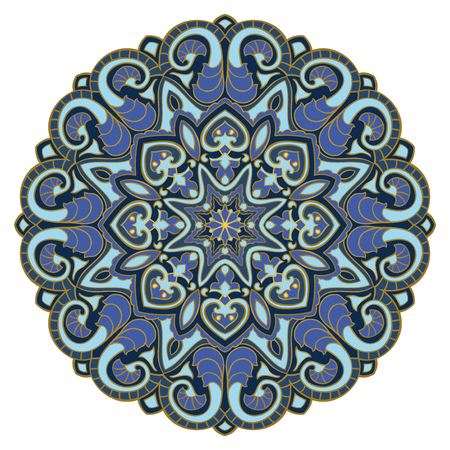 Blue abstract mandala on a white background. Vector round design element. Ornamental template for carpet and any surface.