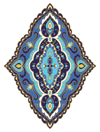 bedcover: Vector blue rhomboid element. Rich ornament with golden contour. Template for fabric, wallpaper, textile, bedcover, carpet. Design element.