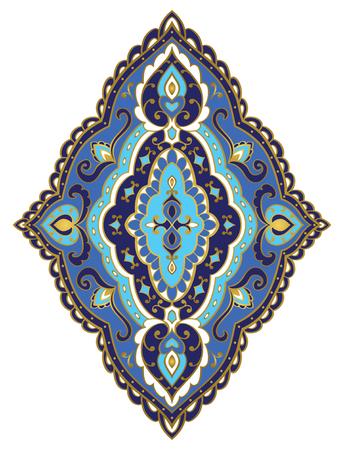 Vector blue rhomboid element. Rich ornament with golden contour. Template for fabric, wallpaper, textile, bedcover, carpet. Design element.