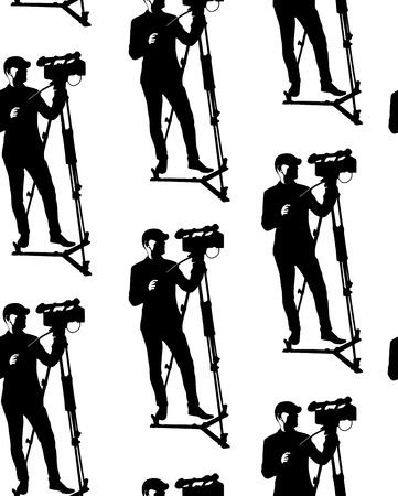 Seamless pattern of cameraman with video camera. Vector white background with black silhouettes of men. Videographer. Television. Broadcasting. Ilustração