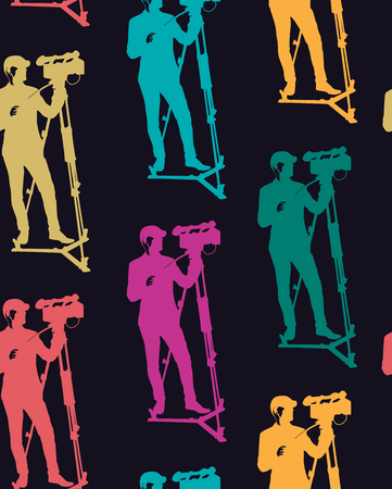Seamless pattern of cameraman with video camera. Vector dark background with colored silhouettes. Videographer. Television. Ilustração