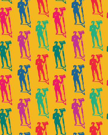 Seamless pattern of cameraman with video camera. Vector yellow background with colorful silhouettes of man. Videographer. Television. Broadcasting. Ilustração