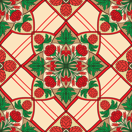 red rug: Seamless vector background with floral mandalas. Oriental coloful ornament. You can use this pattern for the shawl, carpet, cushion, cover, textile and other surfaces. Illustration
