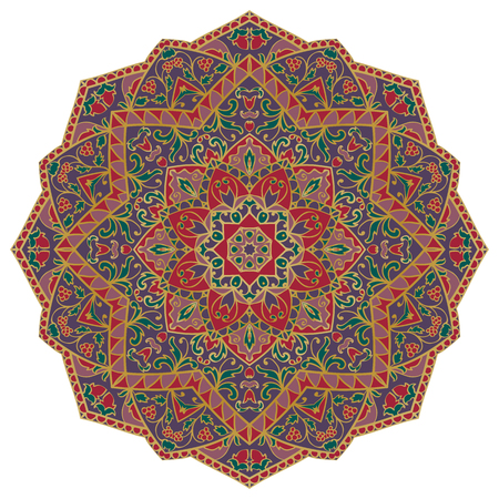 Vector, ornate mandala with floral elements, isolated on white background. Oriental round ornament. Colorful template for embroidery, carpet, textile.