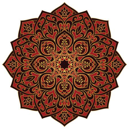 red rug: Vector dark mandala on a white background. Oriental ornament. Element for design. Template for shawl, textile, carpet. Illustration