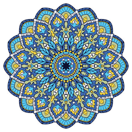 Blue vector mandala. Template for carpet, shawl, textile, fabric, wallpaper. Oriental ornament. Ec for design.