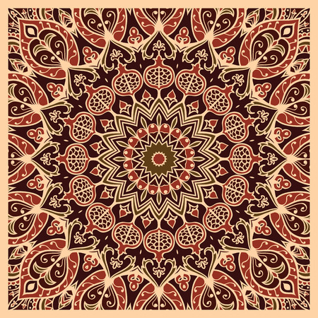 red rug: Oriental pattern of mandala. Vector background. Template for textile, carpet, cushion, shawl.