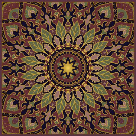 rich wallpaper: Oriental pattern of mandalas. Vector rich dark background. Template for textile, carpet, wallpaper, shawl. Illustration