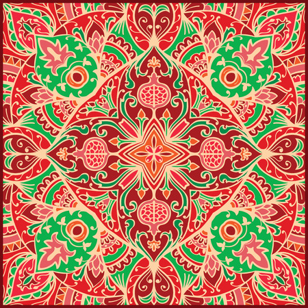 cushions: Vector vintage colorful ornament. Template for the carpet, mosaic, shawl, tile, cushions. Oriental red floral pattern with pomegranates.