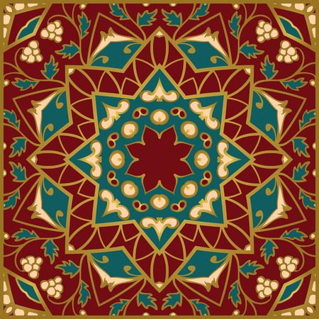 rich wallpaper: Oriental pattern of mandalas. Vector rich ornament with floral elements. Template for textile, carpet, wallpaper, shawl.