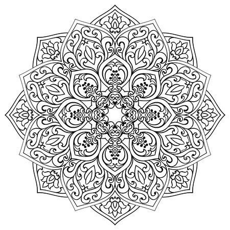 Vector contour mandala on a white background. Oriental ornament. Element for design. Sketch for fretwork.