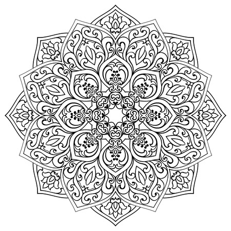 Vector contour mandala on a white background. Oriental ornament. Element for design. Sketch for fretwork.