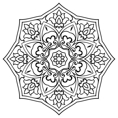 molding: Vector floral mandala on a white background. Oriental ornament. Element for design. Sketch for molding.