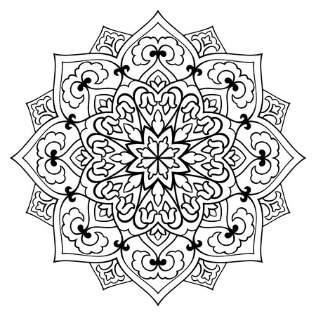 simple: simple mandala with abstract elements, isolated on white background. Oriental ethnic ornament. Template for carpet and any surfaces. Design element.
