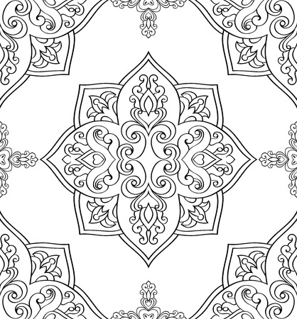 on white: Seamless background. The pattern with abstract elements. Oriental black and white ornament. Template for carpet, wallpaper, textile.