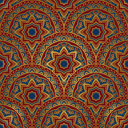 red rug: seamless pattern of mandalas with golden contour. Colorful  ornament of round decorative elements. Background with stylized abstract plates. Template for shawl, carpet, linen, textile.