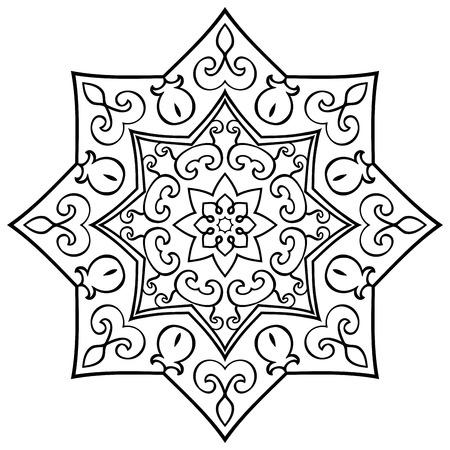 Mandala Simple En Un Fondo Blanco. Ornamento Oriental. Elemento Para ...