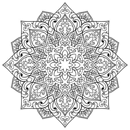 symbolics: floral mandala. Oriental stylized design element. Symbolic black and white ornament.