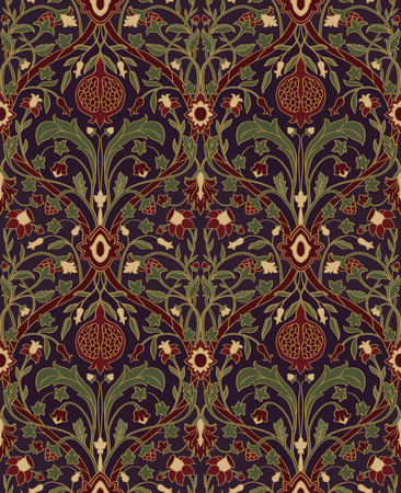 Dark floral pattern. Seamless rich European ornament of the Victorian era. Stylized colorful template for wallpaper, textile, bedspread, curtain, shawl, tile, carpet and any surface. Vettoriali