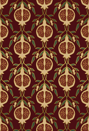 rich wallpaper: Rich floral pattern. Seamless ornament with pomegranate. Stylized template for wallpaper, textile, linen, bedspread, curtain, shawl, carpet and any surface. Illustration