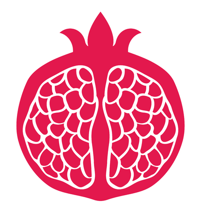 pink pomegranate. Fruit isolated on a white background. Illustration