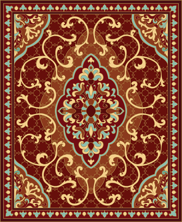 coverlet: Oriental abstract ornament. Red and blue template for carpet, coverlet, shawl, textile and any surface. Ornamental pattern with filigree details.
