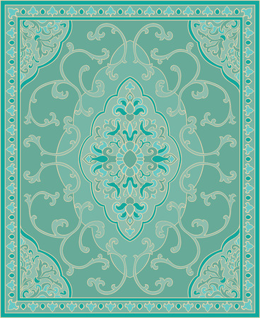 Oriental abstract ornament. Turquoise template for carpet, coverlet, shawl, textile and any surface. Ornamental pattern with filigree details. Vector Illustration