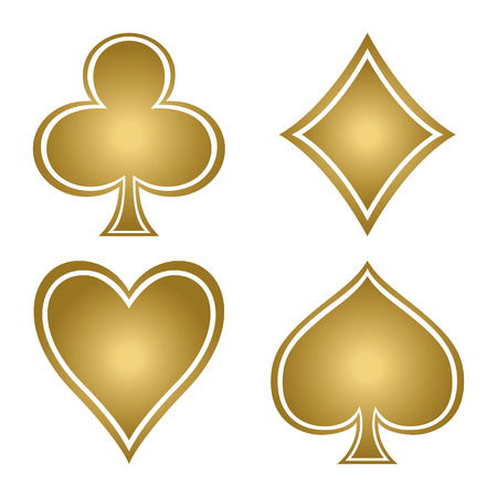 Set with gold suits of playing cards. Club, diamond, spade, heart.
