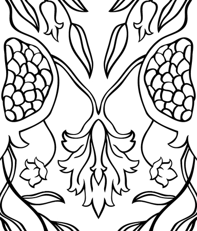 summerly: Black and white floral pattern. Seamless vector ornament with pomegranate. Stylized template for wallpaper, textile, linen, curtain, shawl, tile, carpet and any surface. Illustration