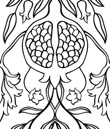 summerly: Black and white floral pattern. Seamless vector ornament with pomegranate. Stylized template for wallpaper, textile, carpet and any surface. Illustration