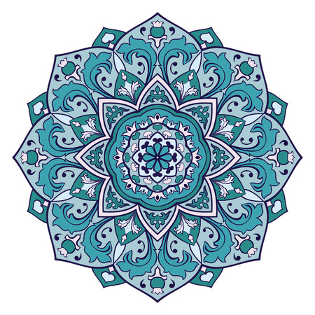 Oriental mandala. Vector turquoise ornament. Template for any surface. Design element. Vettoriali