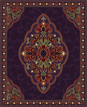 coverlet: Oriental abstract ornament. Purple template for carpet, coverlet, shawl, textile and any surface. Ornamental colorful pattern with filigree details. Illustration