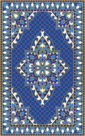 Oriental abstract ornament. Colorful template for carpet, cover, shawl, textile and any surface. Ornamental blue pattern with filigree details.