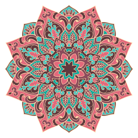 oriental rug: Vector pink and blue mandala. Oriental stylized design element. Symbolic color ornament.