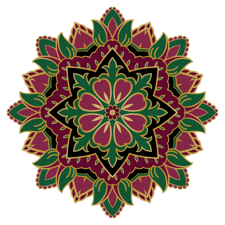 Mandala. Stylized floral ornament. Vector pattern with green and pink flowers on black. Template for for any surface. Element for design.