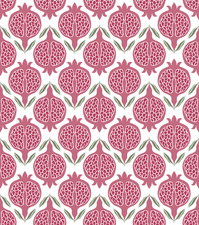bedspread: Pink floral pattern. Seamless vector ornament with pomegranate. Stylized template for wallpaper, textile, linen, bedspread, curtain, shawl, carpet and any surface.