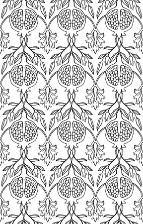 summerly: Black and white floral pattern. Seamless vector ornament with pomegranate. Stylized template for wallpaper, textile, linen, shawl, tile, carpet and any surface.