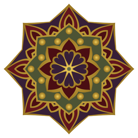 Simple ornamental mandala with a gold contour.  Oriental colorful ornament. Template for design embroidery, textiles, shawls, carpets, wallpapers.