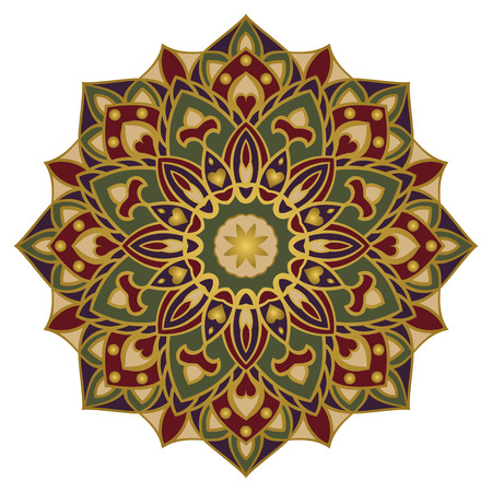 Vector ornamental mandala with a gold contour.  Oriental colorful ornament. Template for design embroidery, textiles, shawls, carpets, wallpapers.