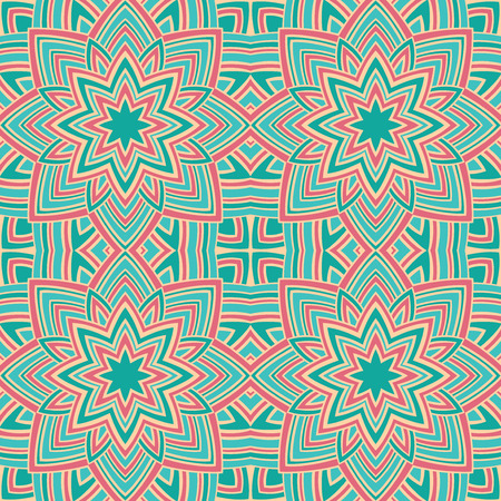 Pattern of colorful stars. Abstract pink and turquoise background. Oriental ornament. Template for carpet, textile, shawl.
