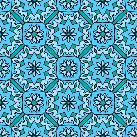 carpet flooring: Oriental seamless ornamental pattern. Vector turquoise background. Template for carpet, mosaic, flooring, tile, textile.