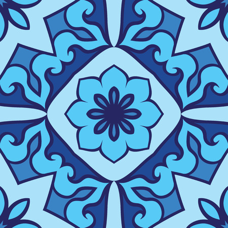 carpet flooring: Oriental seamless ornamental pattern. Vector blue background. Template for carpet, flooring, tile, textile. Illustration